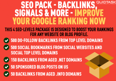 SEOPack - Backlinks, WEB 2.0s, Social Signals / Bookmarks from Authority Networks
