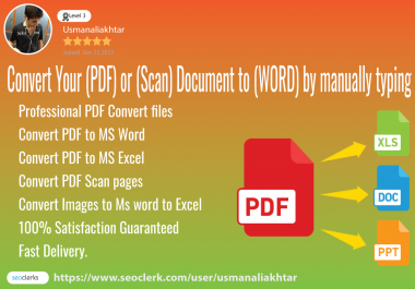 Convert your PDF Document files to Excel,word files Typing