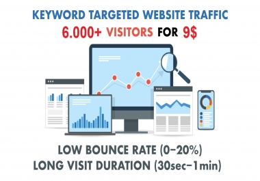 6000+ KEYWORD TARGETED Website visitors/traffic Low Bounce Rate and Long Visit Duration Adsense safe