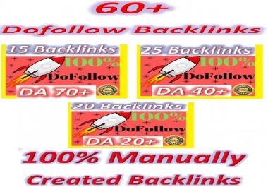 Manually Create High DA & Good PR 60 Do-follow Backlinks (contextual and profiles backlinks)
