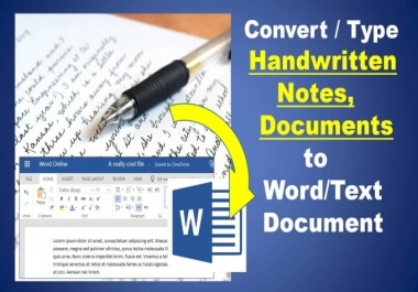 I will convert/type, handwritten notes, images to word document
