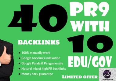 40 PR9 Backlinks and 10 .Edu/.Gov Backlinks only