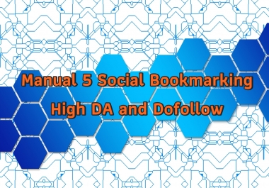 Manual 5 Social Bookmarking High DA and Dofollow