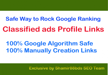 Safe 40 Classified ads Profile Links to Page Rank 1