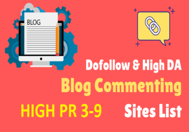 Sell 50 + high quality with PR 3 to 9 blog commenting backlinks