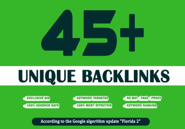 build 45 unique high PR backlinks and trust links