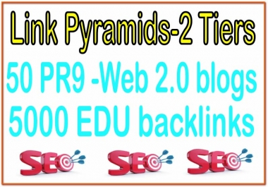 50 PR9 -High Web 2.0 blogs SEO Backlinks & 5000 EDU backlinks For Your Website Power Your Tier 2 Lin