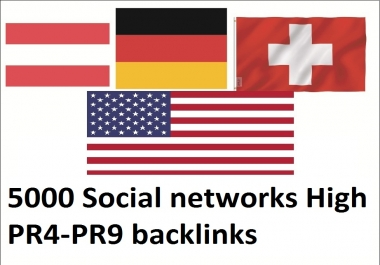Get 5000 Social Networks High Dominating USA, german, austria, switzerland Backlinks