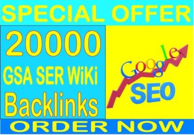 Get 20000 GSA SER Wiki Backlinks Boost your alexa