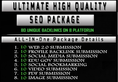 Handmade All In One Premium SEO Package get high quality backlinks from 8 different platform
