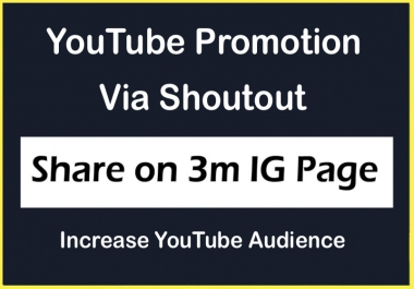 YouTube Video Channel Promotion via Share on 3 Million IG Page and increase Views Likes Subscribers