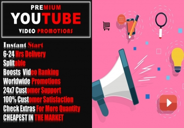 High Speed YouTube Video Promotions. 1k Youtube Marketing Service 6-24 hr delivery