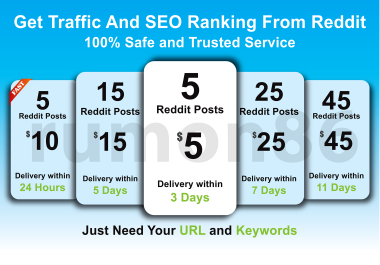 Boost your website Traffic and SEO Ranking by 5 Reddit posts