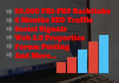 Monster Backlinks Pack- Create and Index 50000 PR1-PR9 Backlinks, 6 Months SEO Traffic, 10000 Web2