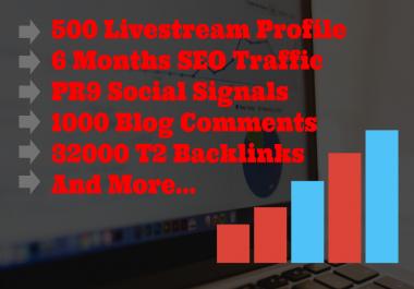 Livestream SEO Pack- 500 Livestream Profile Submission, SEO Traffic, 32000 T2 Backlinks