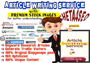 1000 Words ARTICLE Content Writing (with PREMIUM STOCK IMAGES for Better Illustration) on any TOPIC
