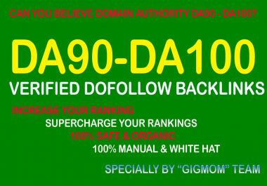 Verified 20 DA90-100 High PR Dofollow Backlinks to Rank Higher