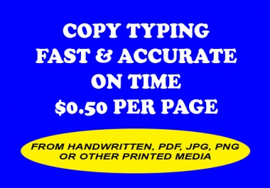 Fast and Accurate Copy Typing From JPEG, PDF, Handwritten etc.