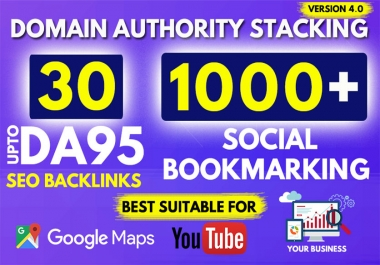 30 High DA SEO Backlinks And 1000 Social Bookmarking For Your Website, YouTube
