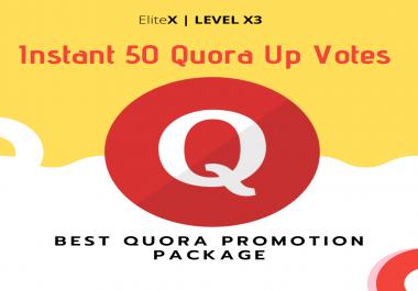 Instant 50 Quora upvotes Marketing Package