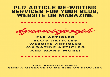 PLR Article Re-writing Services for your blog, website or magazine