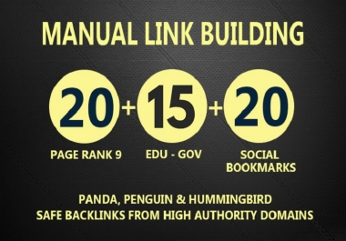 Get 30 PR9 + 15 EDU- GOV + 20 SOCIAL BOOKMARKS Backlinks From Authority Domains