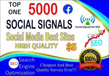 Social Media 5000+ PR9 DA95 PA100 Share Real SEO Social Signals