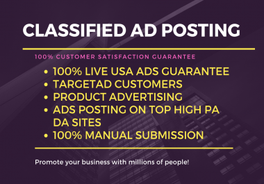 Post 80 Ads To Top Classified (USA,UK,CANADA) Ad Posting Sites.