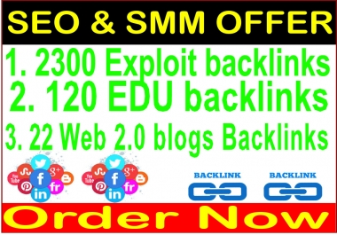 Link Pyramids-2300 Exploit backlinks- 120 edu backlinks-22 Web 2.0 Blogs Backlinks