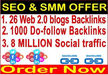 SEO & SMM Link Pyramids- 8 Million Social Promotion- 26 Web 2.0 Blogs Backlinks-1000 Do Follow