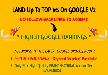 Land Up To TOP 5 On Google V2 - High Authority Backlinks