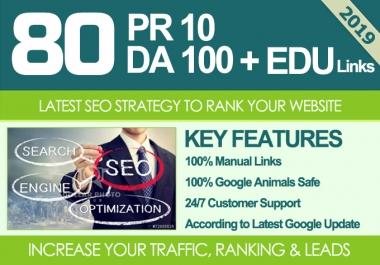 I Will MANUALLY Do 80 UNIQUE PR10 SEO BackIinks on DA100 sites Plus Edu Links