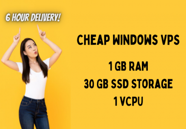 Windows RDP VPS 1GB Ram 30GB SSD 1vCPU