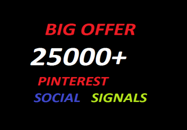 25000+Pinterest social bookmarking Real Seo Social Signals with split also available