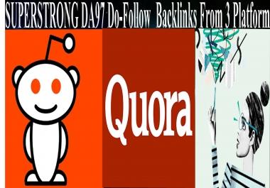 SUPERSTRONG DA97+ Do-Follow Backlinks From 3 Platform