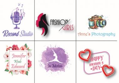 Design professional watercolor and feminine logo