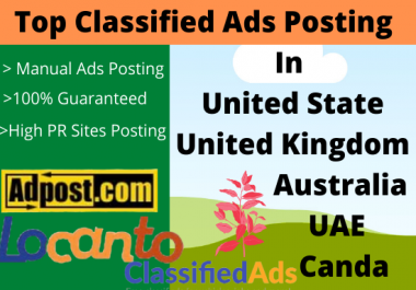 I Will Post 50 USA Classified Ads manually for increasing your Business