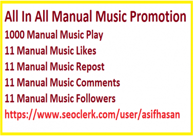 All In All Manual Music Promotion 1000 Play 11 Likes+Repost+Comments+Follower