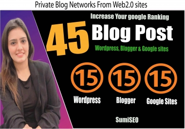 45 Private Blog Post From Authority Sites, Wordpress, Blogger & Google Sites, Increase Ranking
