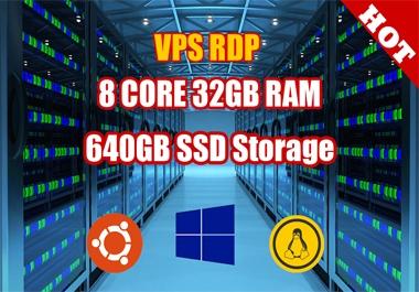 VPS RDP WINDOWS 8 CORE 32GB RAM 640GB SSD Bandwidth 7TB FULL ADMIN