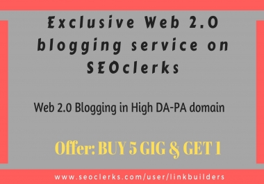 I will make 20 web 2.0 backlinks + 10 Bookmarking On High DA-PA website