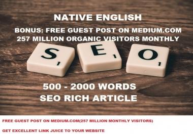 Write 500 Words Seo Article - USA or UK English