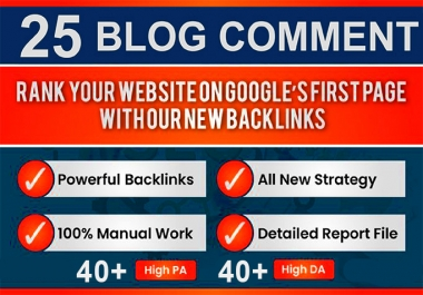25 blog comments high da pa quality backlinks