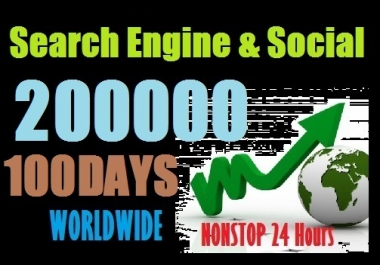 200000 Web Traffic Worldwide from Social Media and Search Engine