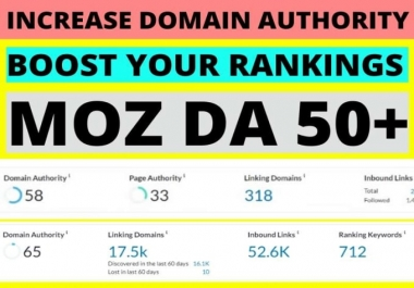 Boost your Domain Authority (DA) upto 50+ in 30 days
