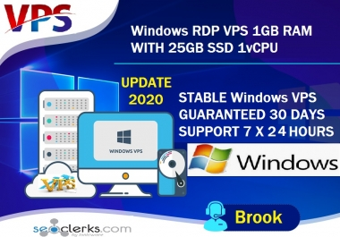 GET YOU NOW STABLE WINDOWS VPS RDP 1GB RAM 1CORE 25GB SSD