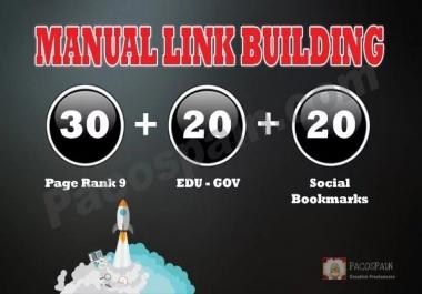Create Manually 30 PR9 + 20 EDU-GOV + 20 SOCIAL BOOKMARKS