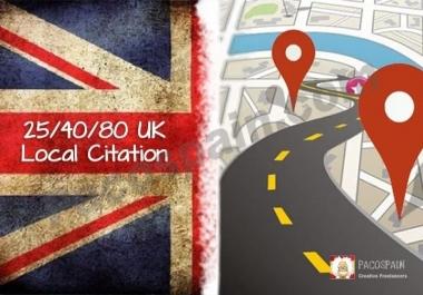 Make Manually 25 Upto 80 UK Local Listing Citations