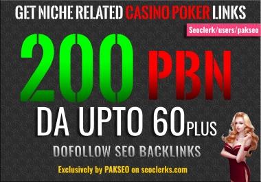 Build 200 PBN Casino Poker Gambling Backlinks DA Upto 60 plus All are Unique Domain PBNs links