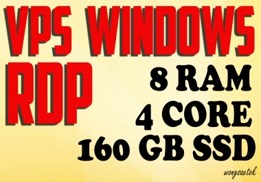 VPS RDP Windows 8 GB RAM 4 Core 160 GB SSD FOR SEO TOOLS